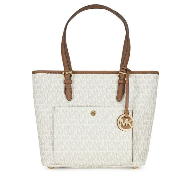 c4e4f5ba96cf3f Shop Michael Kors Jet Set Vanilla Medium Top Zip Logo Tote Bag ...