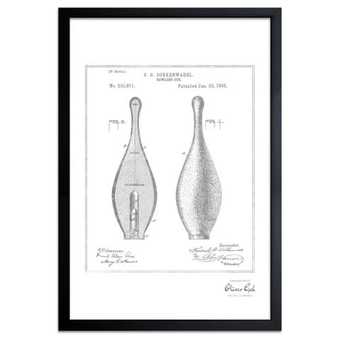 Oliver Gal'Bowling Pin 1895, Silver Metallic' Framed Art