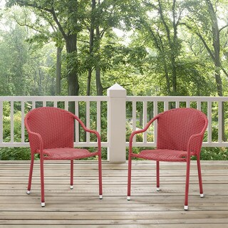 Palm Harbor 3 Piece Outdoor Wicker Café Seating Set in Red-- 2 Stacking Chairs and Round Side Table