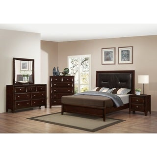 Mateo 077 Cappuccino Finish Wood Bed Room Set, King bed, Dresser, Mirror, 2 Night Stands, Chest