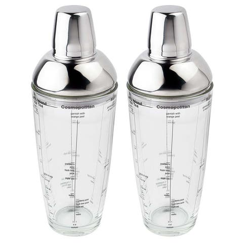 Visol Mystic Glass 23oz Cocktail Shaker with Cocktail Recipes - Pack of Two