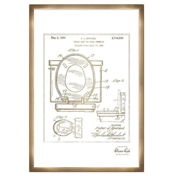 Oliver Gal 'Foot-ball protective apparel 1914, Gold Metallic' Framed Art