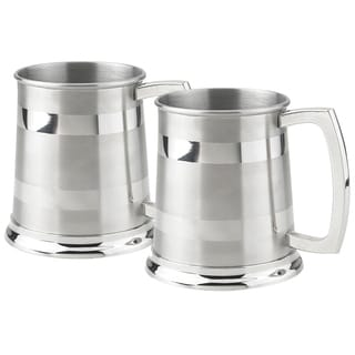 Set of Two (2) Visol Dual Polished Stripes 16 oz Beer Mugs