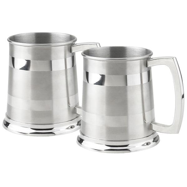 Set of Two (2) Visol Dual Polished Stripes 16 oz Beer Mugs