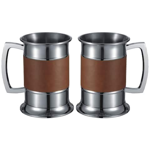 Set of Two (2) Visol Brown Leather Wrapped Beer Tankards