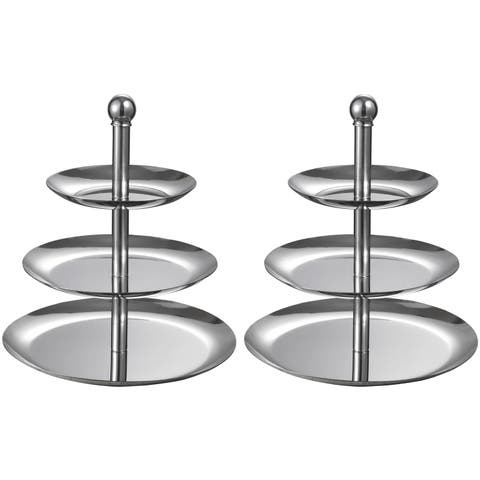 Visol 3 Tiers Stainless Steel Cupcake and Fruit Stand - Set of Two