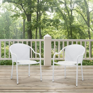 Palm Harbor 3 Piece Outdoor Wicker Café Seating Set in White-- 2 Stacking Chairs and Round Side Table