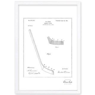 OliverGal'Hockey Stick 1900, Silver Metallic' Framed Art