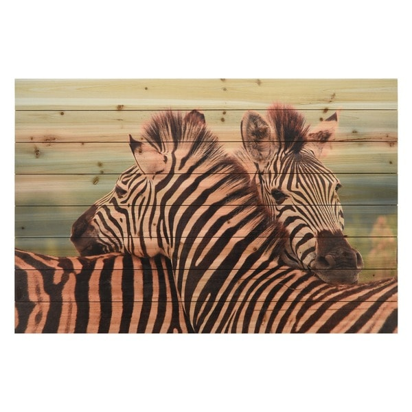 Zebras Wall Art Giclee Printed On Solid Fir Wood Planks