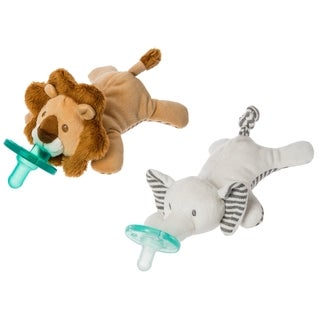 WubbaNub Mary Meyer Limited Edition Afrique Lion and Elephant Infant Pacifier (2 Pack)