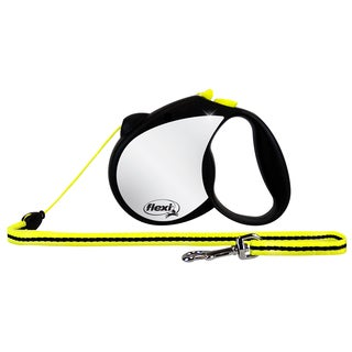 Flexi Black & Neon Yellow Reflective Retractable Dog Leash