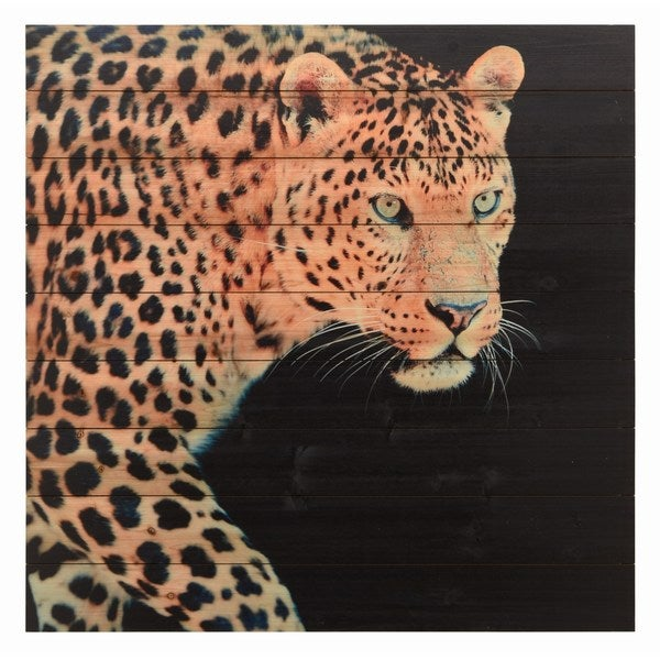 Panther Wall Art Giclee Printed On Solid Fir Wood Planks