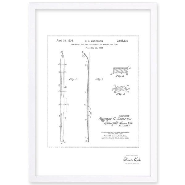 OliverGal'Laminated ski 1936, Silver Metallic' Framed Art - Black/White