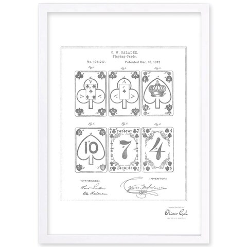 OliverGal'IMPROVEMENT IN PLAYING-CARDS 1877, Silver Metallic' Framed Art - Black/White