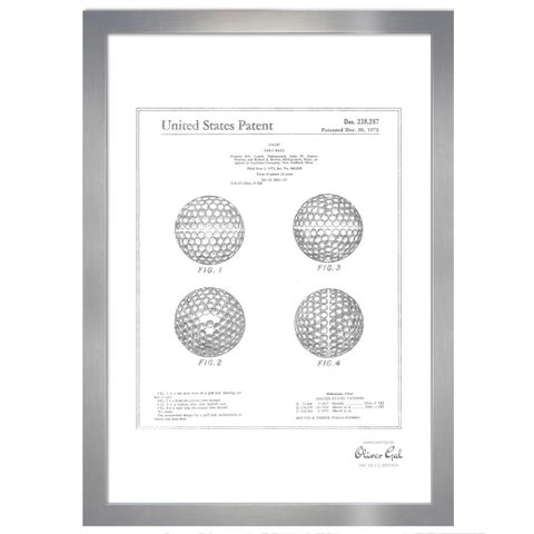 Oliver Gal 'Golf Ball 1975, Silver Metallic' Framed Art
