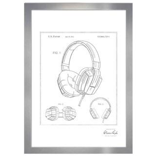 Oliver Gal 'Headphones 2010, Silver Metallic' Framed Art