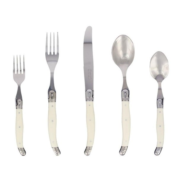 20 Piece Laguiole Faux Ivory Flatware Set by French Home. Opens flyout.
