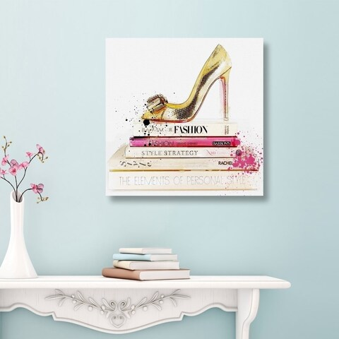 Oliver Gal 'Gold Shoe and Fashion Books' Glam Gallery Wrapped Canvas Art - gold, pink