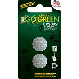 GoGreen 3V Lithium Button Cell CR2032 Batteries (Pack of 2)