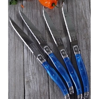 French Home Laguiole Blue Marble Stainless Steel Steak Knives (Set of 4)