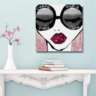 Oliver Gal 'Ready for the City' Fashion and Glam Gallery Wrapped Canvas Art - red, gray