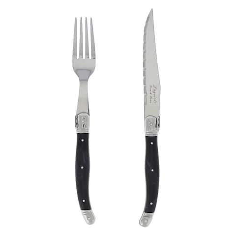 French Home 8 Piece Laguiole Faux Onyx Steak Knife and Fork Set
