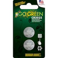 GoGreen 3V Lithium Button Cell CR2025 Batteries (Pack of 2)