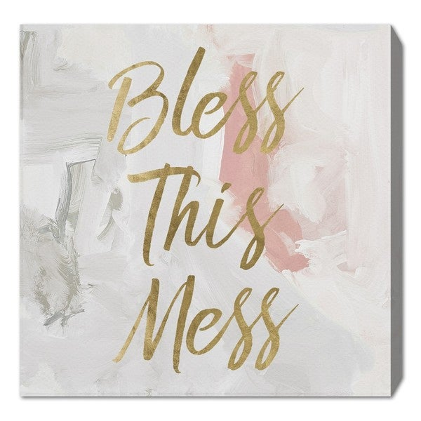 Oliver Gal 'Bless This Mess' Canvas Art - Gold
