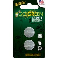 GoGreen 3V Lithium Button Cell CR2016 Batteries (Pack of 2)