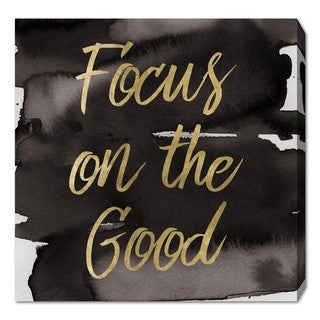 Oliver Gal 'Focus On The Good' Canvas Art - Gold/Black