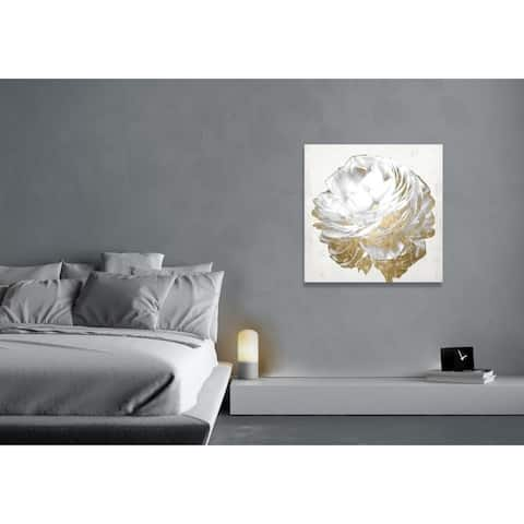 Oliver Gal 'Gold and Light Floral White' Floral and Botanical Wall Art Canvas Print - Gold, White