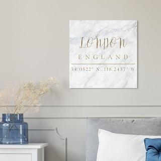 Oliver Gal 'London Coordinates' Canvas Art - Gold/White