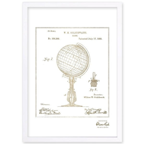 OliverGal'Globe 1888, Gold Metallic' Framed Art