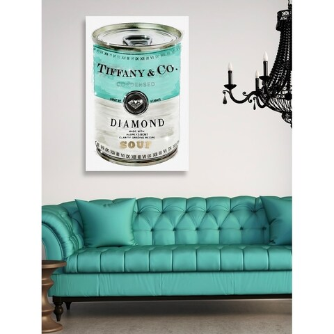 Oliver Gal 'Priceless Can' Fashion and Glam Canvas Art - teal, turquoise