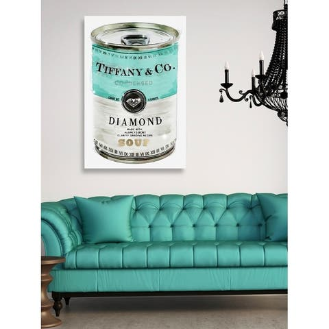 Oliver Gal 'Priceless Can' Fashion and Glam Wall Art Canvas Print - Teal, Turquoise