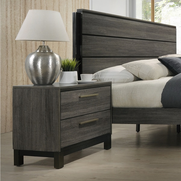 Ioana 187 Antique Grey Finish Wood 2-drawer Night Stand