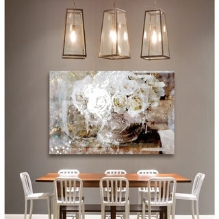 Oliver Gal 'Serving Roses' Fashion and Glam Floral Canvas Art - white, gold