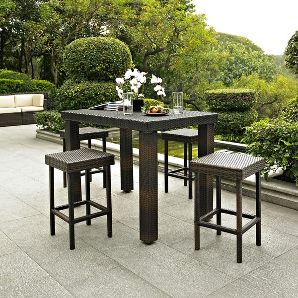 Palm Harbor 5 Piece Outdoor Wicker High Dining Set