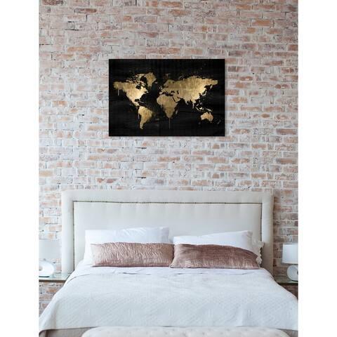 Oliver Gal 'Mapamundi Gold' Maps and Flags Wall Art Canvas Print - Black, White