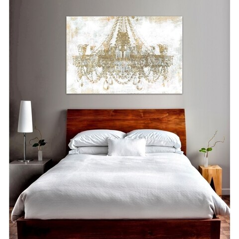 Oliver Gal 'Gold Diamonds' Glam and Fashion Chandeliers Canvas Art - Gold/White