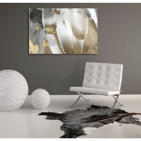 Silver Orchid Oliver Gal 'Royal Feathers' Canvas ArtGrey - gray, gold - gray, gold