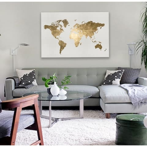 Oliver Gal 'Mapamundi Tiago Homemade' Maps and Flags Wall Art Canvas Print - Gold, White