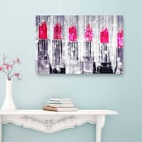 Oliver Gal 'Silver lipstick Collection' Fashion and Glam Canvas Art - pink, gray