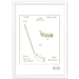 OliverGal'Hockey Stick 1900, Gold Metallic' Framed Art