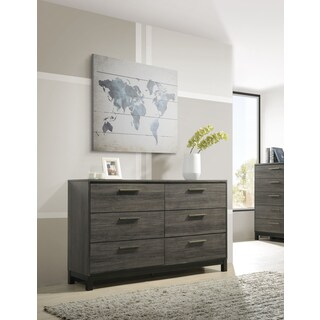 Ioana 187 Antique Grey Finish Wood 6 Drawers Dresser