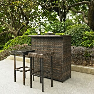 Palm Harbor 3 Piece Outdoor Wicker Bar Set - Bar & Two Stools