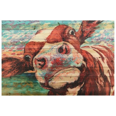 """Curious Cow"" Arte de Legno Digital Print on Solid Wood Wall Art"