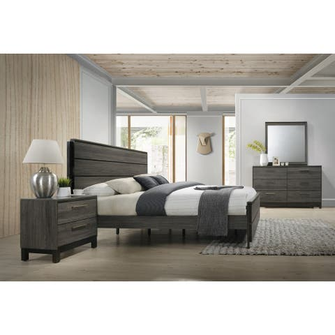 Ioana 187 Antique Grey Finish Wood Bed Room Set, King Size Bed, Dresser, Mirror, Night Stand