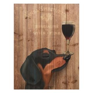 """""""Dog Au Vin Dachshund"""" Digital Print on Solid Wood Wall Art"""