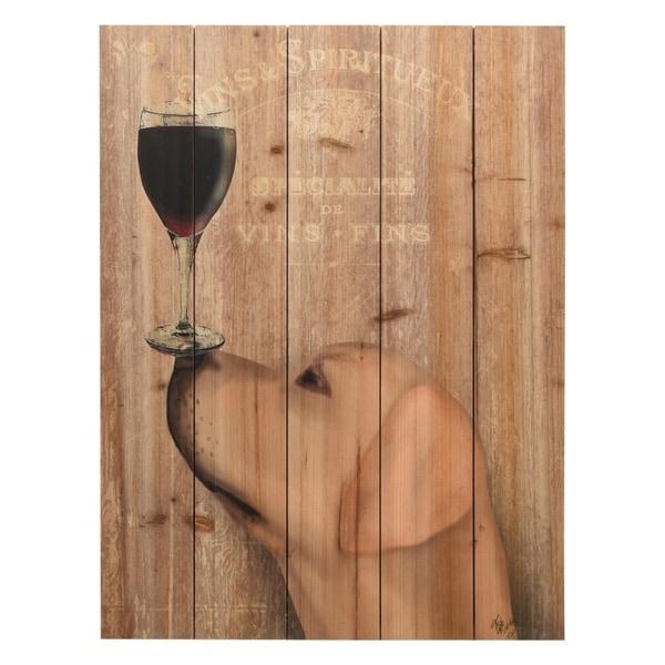 """Dog Au Vin Yellow Labrador"" Digital Print on Solid Wood Wall Art"
